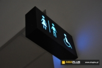Oznakowanie toalet lotniska w Łodzi ABA Plus