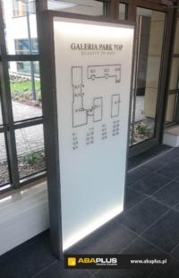 Kamienny szklany wewnętrzny plan informacyjny UNIBEP - ABA Plus